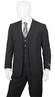 T62RS-BLK ( 2pc Classic Fit Suit, 2 Button Jacket, Single Breasted, Double-Vents, Notch Lapels, 5 Button Vest, Flat Front Pants, Premium, Pin-Stripes, Vittorio St.Angelo Mens Suit )