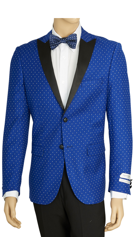 SZ62PD-ROY ( Sports Jacket, 2 Button Jacket With Polka-Dot Pattern, Single-Breasted, Peak Lapels, Center Vent, Vittorio St.Angelo Mens Suit )