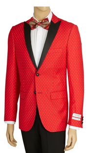 SZ62PD-RE ( Sports Jacket, 2 Button Jacket With Polka-Dot Pattern, Single-Breasted, Peak Lapels, Center Vent, Vittorio St.Angelo Mens Suit )
