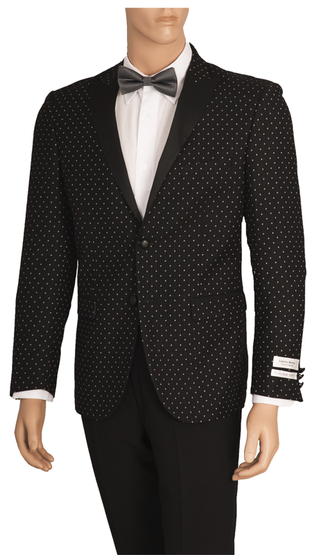 SZ62PD-BLK ( Sports Jacket, 2 Button Jacket With Polka-Dot Pattern, Single-Breasted, Peak Lapels, Center Vent, Vittorio St.Angelo Mens Suit )