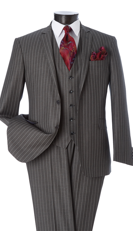 T62RS-GRA ( 2pc Classic Fit Suit, 2 Button Jacket, Single Breasted, Double-Vents, Notch Lapels, 5 Button Vest, Flat Front Pants, Premium, Pin-Stripes, Vittorio St.Angelo Mens Suit )