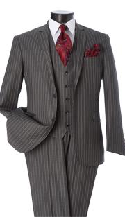 T62RS-GRA ( 2pc Classic Fit Suit, 2 Button Jacket, Single Breasted, Double-Vents, Notch Lapels, 5 Button Vest, Flat Front Pants, Premium, Pin-Stripes, Vittorio St.Angelo Mens Suit )