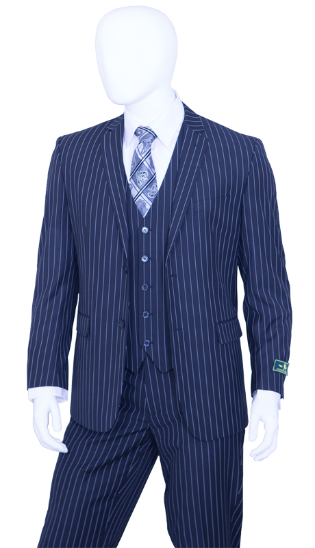 T62RS-NA ( 2pc Classic Fit Suit, 2 Button Jacket, Single Breasted, Double-Vents, Notch Lapels, 5 Button Vest, Flat Front Pants, Premium, Pin-Stripes, Vittorio St.Angelo Mens Suit )