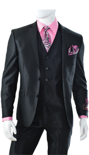 T62SK-BLK ( 3pc Suit, 2 Button, Single-Breasted Jacket With 5-Button Vest And Center Vent, Flat-Front Pants, Shark Skin, Vittorio St.Angelo Mens Suit )