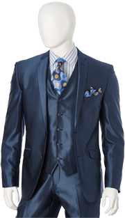 T62SK-NA ( 3pc Suit, 2 Button, Single-Breasted Jacket With 5-Button Vest And Center Vent, Flat-Front Pants, Shark Skin, Vittorio St.Angelo Mens Suit )