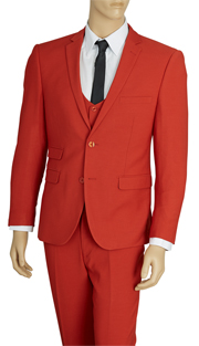 US631V-RE ( 3pc Stretch Suit, 2-Button, Single-Breasted Jacket With Center Vent, Collarless Buttoned Vest, Flat Front Pants, Lycra, Vittorio St.Angelo Mens Suit )
