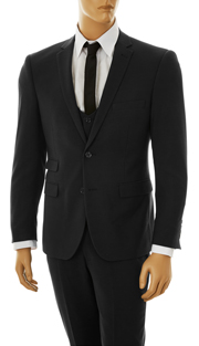 US631V-BLK ( 3pc Stretch Suit, 2-Button, Single-Breasted Jacket With Center Vent, Collarless Buttoned Vest, Flat Front Pants, Lycra, Vittorio St.Angelo Mens Suit )