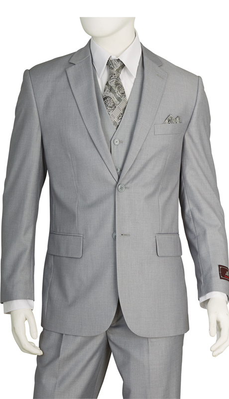 T62W-LG ( 3pc Suit, 3 Button, Single-Breasted, Double-Vent Jacket, 5 Button Vest, Single-Pleat Pants, Super Vittorio St.Angelo Mens Suit )