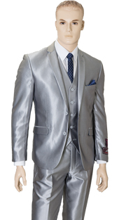 T62SK-SIL ( 3pc Suit, 2 Button, Single-Breasted Jacket With 5-Button Vest And Center Vent, Flat-Front Pants, Shark Skin, Vittorio St.Angelo Mens Suit )