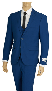 US631V-BLU ( 3pc  Stretch Suit, 2-Button, Single-Breasted Jacket With Center Vent, Collarless Buttoned Vest, Flat Front Pants, Lycra, Vittorio St.Angelo Mens Suit )