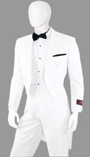 Y613W-WH ( 2pc Tuxedo With Tails, 6 Button, Single-Breasted Jacket With Peak Lapels, Single-Pleat Pants, Vittorio St.Angelo Mens Suit )