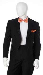 Y613W-BLK ( 2pc Tuxedo With Tails, 6 Button, Single-Breasted Jacket With Peak Lapels, Single-Pleat Pants, Vittorio St.Angelo Mens Suit )