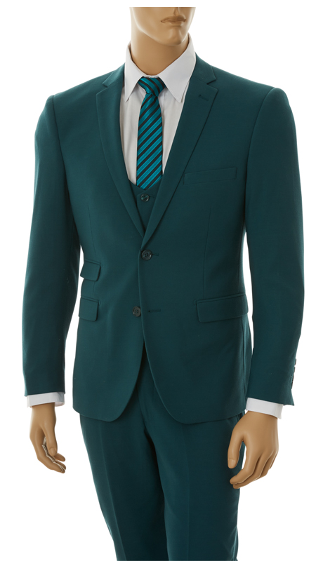 US631V-FOR ( 3pc Stretch Suit, 2-Button, Single-Breasted Jacket With Center Vent, Collarless Buttoned Vest, Flat Front Pants, Lycra, Vittorio St.Angelo Mens Suit )
