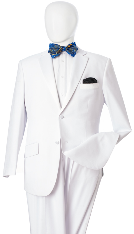 Y622W-WH ( 2pc Tuxedo, 2 Button, Single-Breasted, Classic Fit Jacket With Notch Lapels, Side Vents, Single-Pleat Pants, Vittorio St.Angelo Mens Suit )
