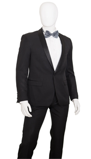 YS81A-BLK ( 2pc Tuxedo 1 Button, Single-Breasted jacket With Shawl Lapels, Center Vent, Flat-Front Pants, Gabardine, Vittorio St.Angelo Mens Suit )