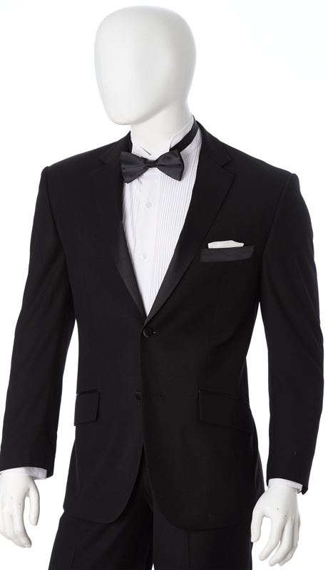 Y622W-BLK ( 2pc Tuxedo, 2 Button, Single-Breasted, Classic Fit Jacket With Notch Lapels, Side Vents, Single-Pleat Pants, Vittorio St.Angelo Mens Suit )