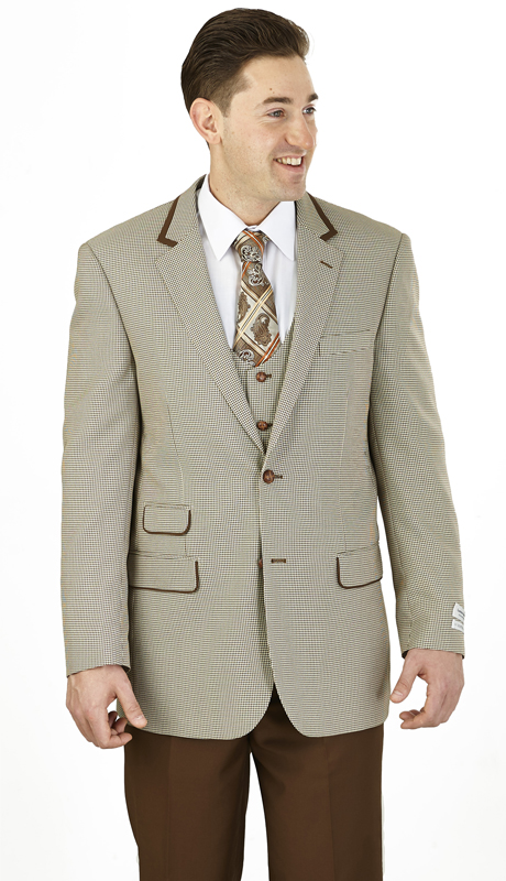 F62HV-BR ( 3-Piece Classic Fit Suit 2-Button, Single-breasted Jacket with side-vents and Vest Flat front pants )