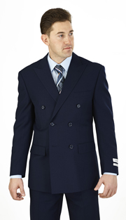 C602DB-N ( 2-Piece Classic Fit Suit 6-on-2-Button, Double-breasted jacket with peak lapels Flat front Pants )