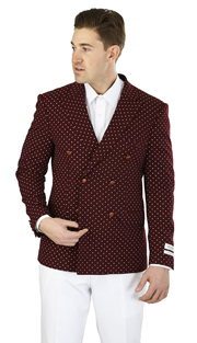 SZ601D-BU ( Sports Jacket 6-on-2-Button, Double-breasted jacket with notch lapels and double vents Navy fabric with white polka dots )