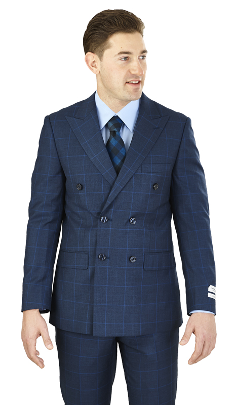 M662WD-N ( 2pc Suit 6-Button, Double-breasted Jacket with peak lapels and side-vents Flat front pants Window pane, Poly-rayon Mens Suit )