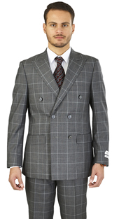M662WD-GR ( 2-Piece Suit 6-Button, Double-breasted Jacket with peak lapels and side-vents Flat front pants Window pane, Poly-rayon Mens Suit )