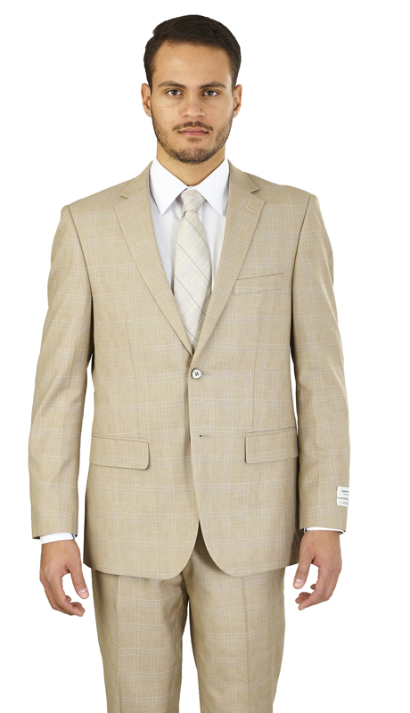M62WP-B ( 2-Piece Suit 2-Button, Single-breasted Jacket with side-vents Flat front Pants Glen plaid, Poly-rayon )