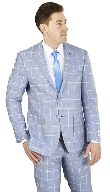 MC62CB-CH ( 2-Piece Suit 2-Button, Single-breasted Jacket with patch pockets and side vents Flat front Pants )