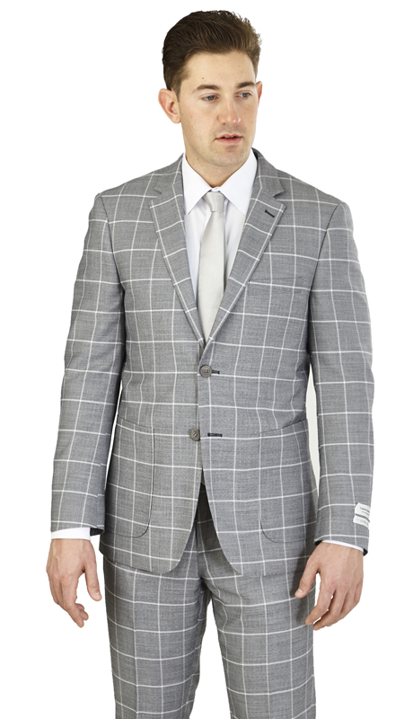 MC62CB-GR  ( 2-Piece Suit 2-Button, Single-breasted Jacket with patch pockets and side vents Flat front Pants )