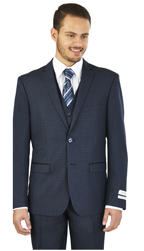 FS62H-N ( 3-Piece Suit 2-Button, Single-breasted Jacket with side vents and Vest Flat front Pants )
