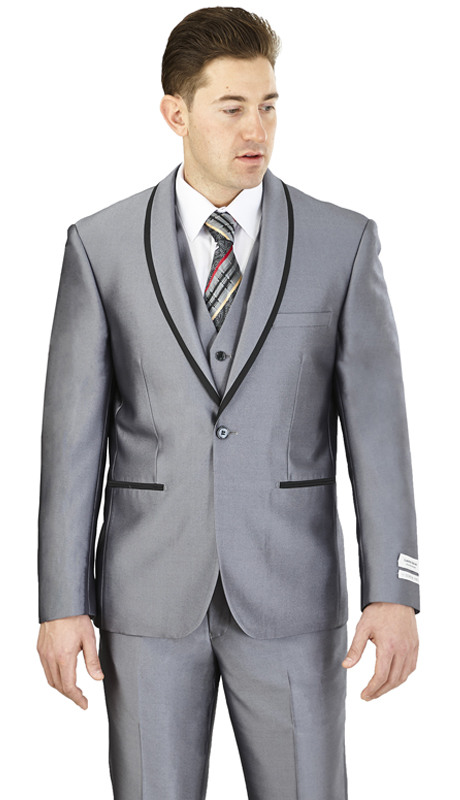 FS61V-GR ( 3-Piece Evening Suit 1-Button, Single-breasted Jacket with side vents and Vest Flat front Pants )