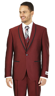 FS61V-BUR ( 3-Piece Evening Suit 1-Button, Single-breasted Jacket with side vents and Vest Flat front Pants )