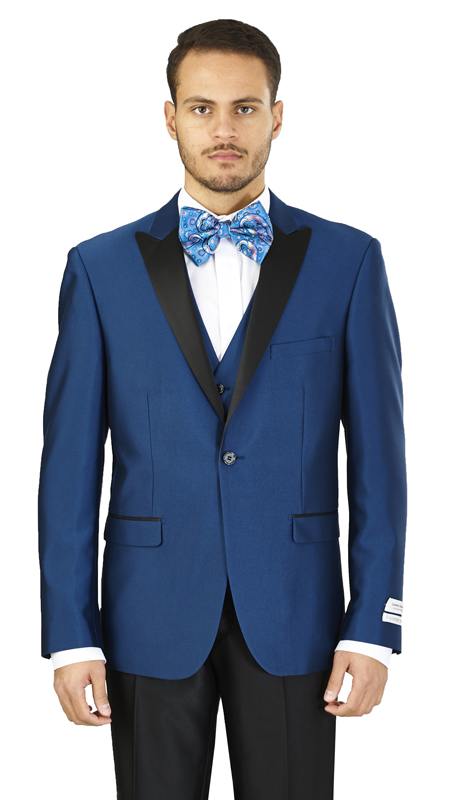 FS61V-MB ( 3-Piece Evening Suit 1-Button, Single-breasted Jacket with side vents and Vest Flat front Pants )