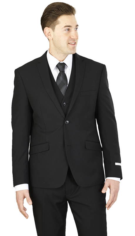 TS62KR-BLK ( 2-Button, Single-breasted Jacket with side vents and Vest Flat front Pants )