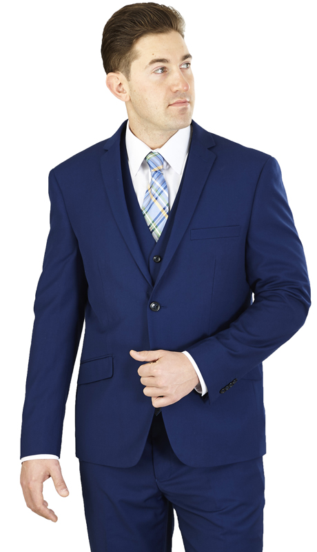 T62K-COB ( 3-Piece Suit 2-Button, Single-breasted Jacket with side vents and Vest Flat front Pants Poly-rayon )