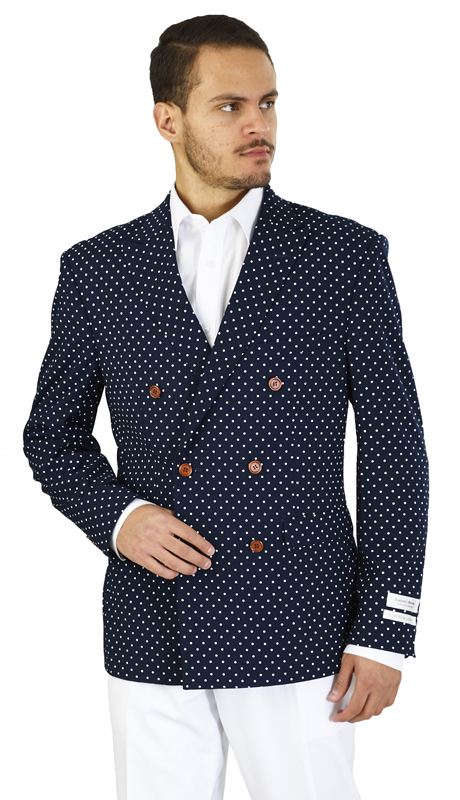 SZ601D-N ( Sports Jacket 6-on-2-Button, Double-breasted jacket with notch lapels and double vents Navy fabric with white polka dots )