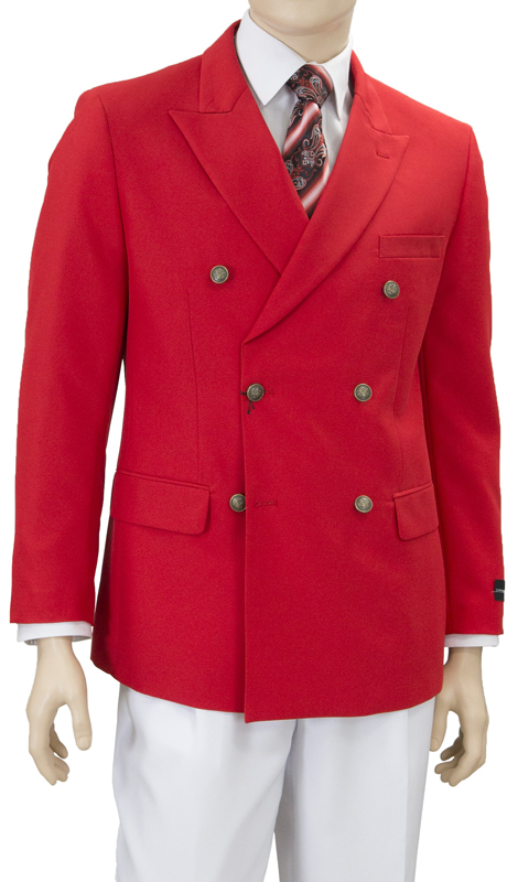 Z76B-R ( Double Breasted Blazer Polyester Poplin Weave Matching Enamel Buttons Flap Pockets )