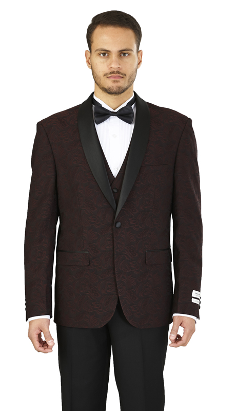 YS61V-WI ( 3-Piece Tuxedo 1-Button, Single-breasted Jacket with shawl collar, side vents Flat front Pants in solid black )