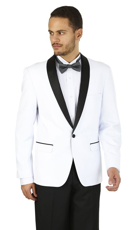 YS61S-WB ( 2-Piece Tuxedo 1-Button, Single-breasted Jacket with shawl collar, side vents Flat front Pants )