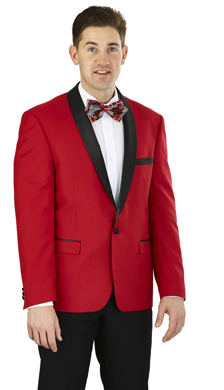 YS61S-RD ( 2-Piece Tuxedo 1-Button, Single-breasted Jacket with shawl collar, side vents Flat front Pants )