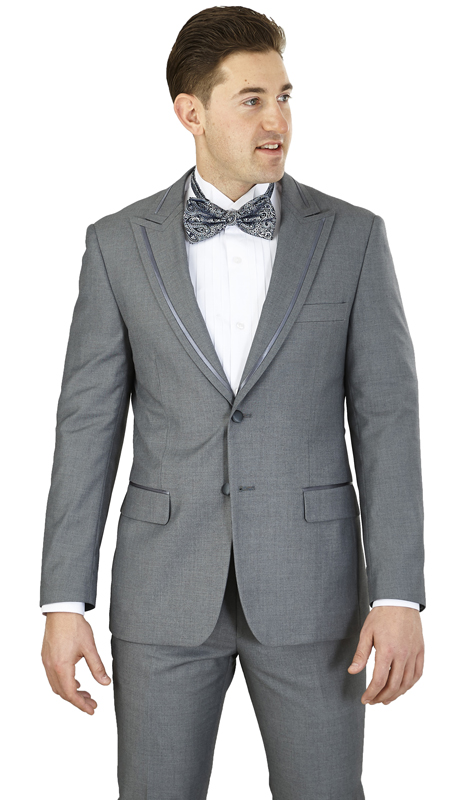 YM62N-GR ( 2-Piece Tuxedo 2-Button, Single-breasted Jacket with peak lapels, side vents Flat front Pants )