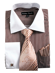 FL631-BR ( Matching Tie, Cuff Link And Hanky Included )