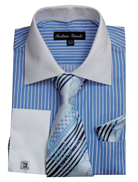 FL631-BLU ( Matching Tie, Cuff Link And Hanky Included )