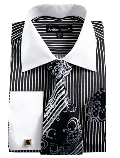 FL631-BLK ( Matching Tie, Cuff Link And Hanky Included )
