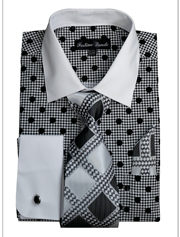 FL632-BLK ( Matching Tie, Cuff Link And Hanky Included )