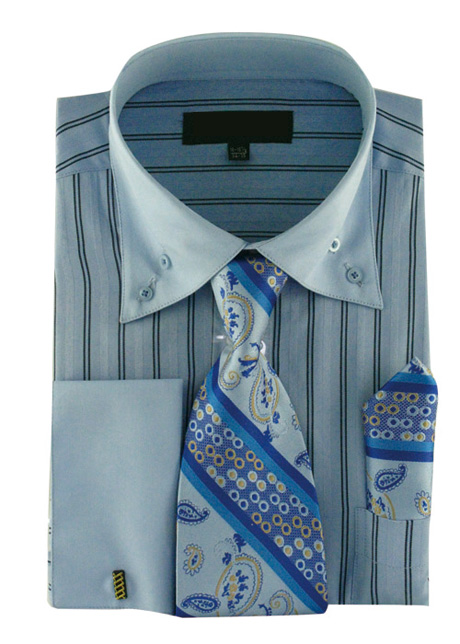 AH601-BLU ( Matching Tie, Cuff Link And Hanky Included )