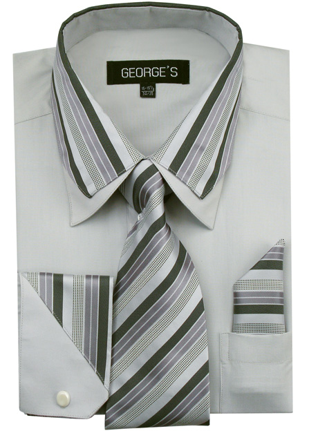 AH611-GR ( Matching Tie, Cuff Link And Hanky Included )