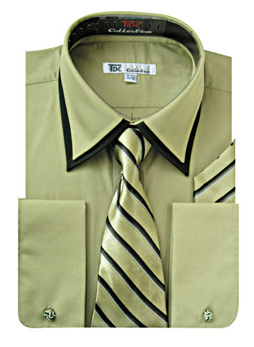 SG-14Olive-G ( Matching Tie, Cuff Link And Hanky Included )