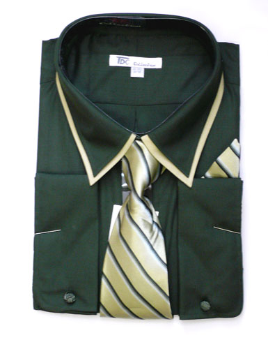 SG14Green-G ( Matching Tie, Cuff Link And Hanky Included )