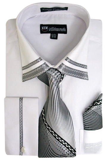 SG-28WHT ( Matching Tie, Cuff Link And Hanky Included )