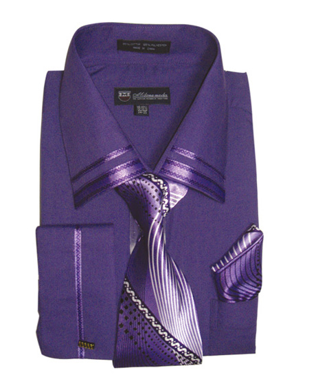 SG-28-PUR ( Matching Tie, Cuff Link And Hanky Included )